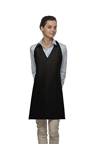 Averill's Sharper Uniforms V-Neck Tuxedo Apron with Center Divided Pocket (Set of 6) (V-neck Tuxedo Apron)