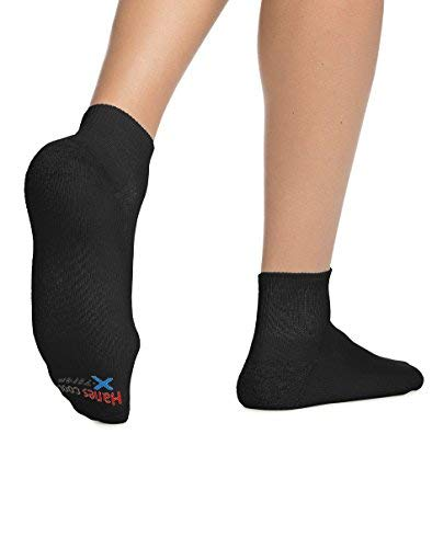 Hanes 38257757118 CC16 - 6B Mens X Temp Comfort Cool Ankle Socks44; Black - 6-12 - 6 Pack ()