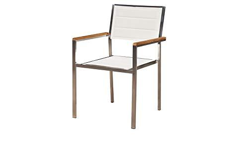 OUTFLEXX Moderner Stapelstuhl in cremeweiß, aus rostfreiem Edelstahl, Sitzfläche aus Textilene und Armlehnen aus hochwertigem Teakholz, Circa 62 x 56,5 x 86 cm, Holzstuhl, Sessel, wetterfest, Weiß