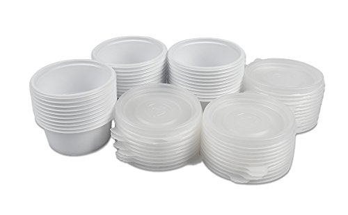 2 Ounce Plastic Disposable Sauce Cups Lids Travel Container Portion Light (Set of 50)