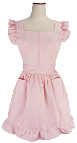 [LilMents Retro Adjustable Ruffle Apron Kitchen Cooking Baking Cleaning Maid Costume (Light Pink)] (Retro Housewife Costume)