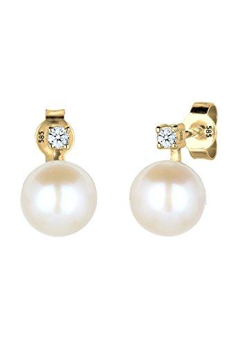DIAMORE - Boucles d'oreilles - Or jaune 14 cts - Diamant 0.06 cts - Perle d'eau douce chinoises - 0308720615