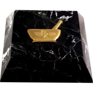 - Bey-Berk R26P Black Zebra Marble Paperweight with Gold Plated Pharmacy Emblem,