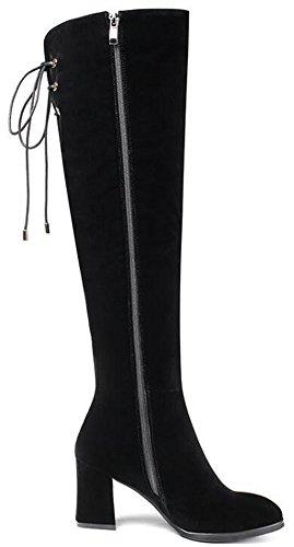 IDIFU Womens Trendy Mid Chunky Heels Faux Suede Side Full Zipper Knee High Riding Boots Black T2RWbd