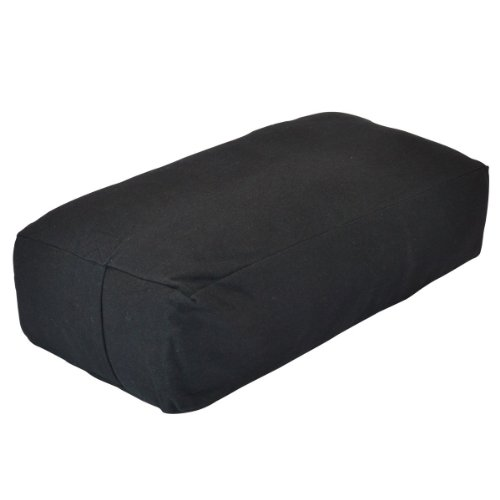 YogaDirect Black Supportive Rectangular Cotton Yoga Bolster