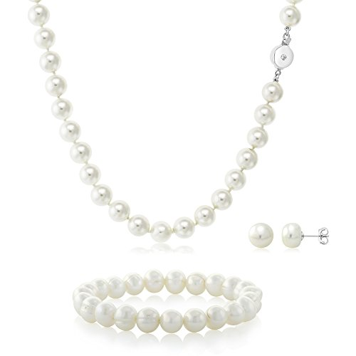 White 3 Piece Cultured Freshwater Pearl Necklace, Elastic Bracelet and Earrings - Genuine Bracelet Earrings Pearl Pink