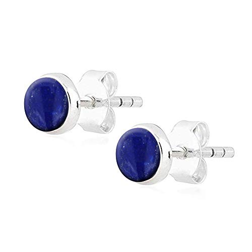(Oxidized 925 Sterling Silver Simple Blue Lapis Lazuli Round Button Minimalist Gemstone Stud Earrings)