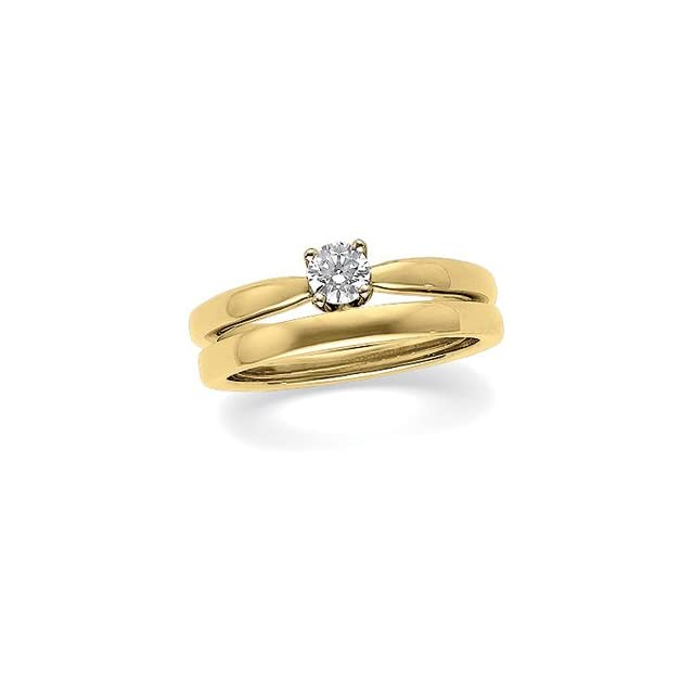 1/2 CT 14K Yellow Gold/White Gold Two Tone Round 4 Prong Medium Height Solstice Solitaire