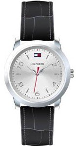 Tommy Hilfiger Black Leather 3-Hand Silver Dial Women's Watch #1790279