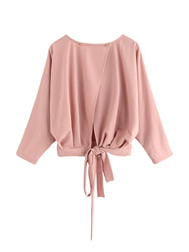 Knot Back Top - SheIn Women's Back Slit Bow Knot Batwing Long Sleeve Pullovers Tops Pink Large