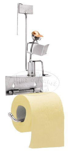 Dispensador de WC Klomann como diseño de hombre sentado de alambre de metal arte Macho tornillos