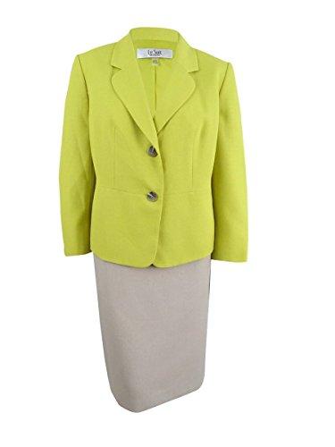 Basket Weave Button - Le Suit Women's Plus Size Basket Weave 2 Button Unmatched Skirt, Honey Dew/Straw, 20W