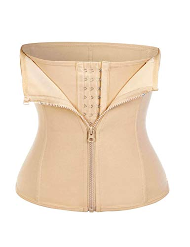 Waist Trainer for Women Underbust Cincher Steel Boned Sport Belt Weight Loss Sauna Sweat Band Beige L
