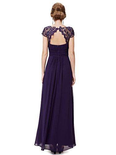 Pizzo 09993 Scuro Chiffon In Impero Maniche Viola pretty Lungo Corte Ever Vestito Donna Da Sera 6FapPy7q