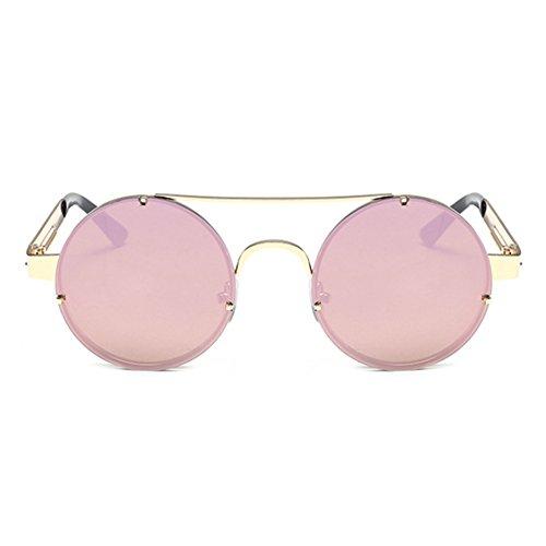 Or Steampunk Keephen Vintage Classique Rond Soleil Lunettes Coloré UV400 Lunettes Conduisant Rose Cadre de gqA7q