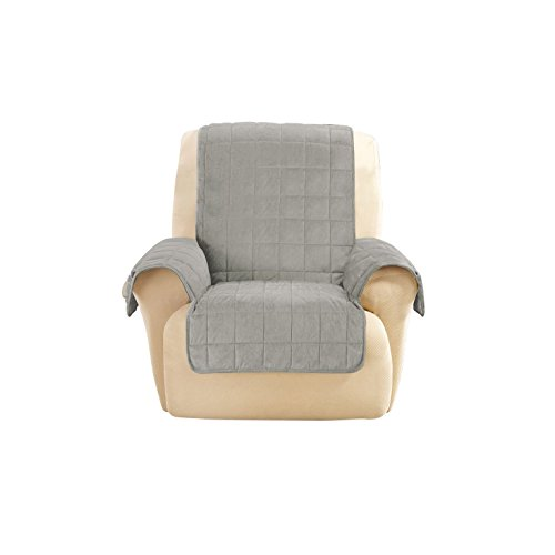 Sure Fit SF45856 Deep Pile Velvet Recliner Slipcover, Gray by Surefit