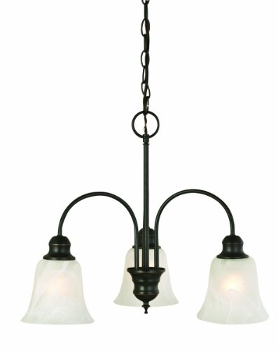 Design House 519330 Ridgeway Collection 3 Light Chandelier with Alabaster Glass, Oil Rubbed Bronze Finish