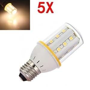 5X E27 6W Warm White 5050SMD SinglyFire 24LED Corn Light Bulb 200-240V