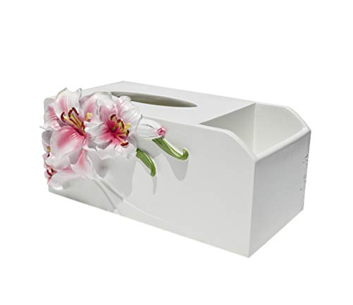 Lily Tissue Box - Nwn Lily Remote Control Storage Box Multi-Function Tissue Box Living Room Coffee Table Storage Box Creative Napkin Tray European Tray (Color : Pink Lily Two in one)