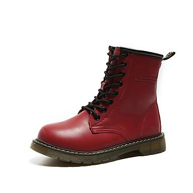 RTRY Women's Shoes PU Fall Winter Combat Boots Boots Low Heel Round Toe Mid-Calf Boots Lace-up For Casual Outdoor Red Black White US8 / EU39 / UK6 / CN39 xQ0uW5GK