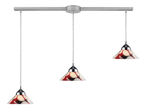 Elk 1477/3L-CRW 3-Light Pendant in Polished Chrome and Creme White Glass