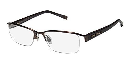 Trussardi 12721 Mens/Womens Designer Half-rim Flexible Hinges Popular Shape Premium Quality Eyeglasses/Glasses (52-18-135, Brown)