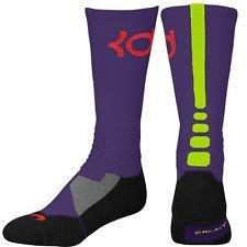 Nike KD Kevin Durant Hyper Elite Basketball Crew Socks - Court Purple (Large)