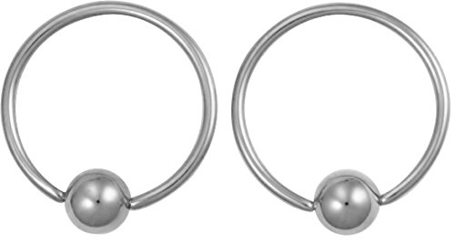 Bead Captive Hoop (Pair of 2 Rings: 18g 1/2 Inch Surgical Steel Captive Bead Hoop CBR Rings, 4 mm)