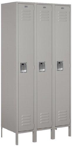 Salsbury Industries 61368GY-U Standard Metal Locker Single Tier 3 Wide 6 Feet High 18-Inch Deep Gray Unassembled Gray by Salsbury Industries