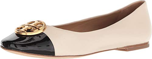 (Tory Burch Women's Chelsea New Cream Perfect Black Cap Toe Ballet Flats (10 M US))