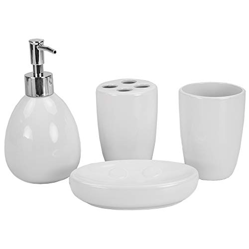 Home Basics 4Pc Bath Accessory Set White, (Accessories Set Cheap Bath)