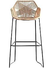 Modern Style Bar Rattan Chair Iron Art Kitchen Counter Stool Breakfast Bar Height Stools (Sitting Height: 65cm)