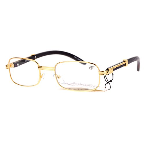 (SA106 Art Nouveau Vintage Style Rectangular Metal Frame Eye Glasses Gold)
