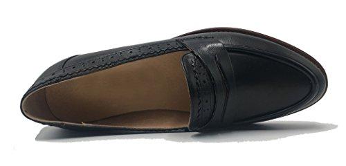 Honeystore Vrouwen Retro Brogue Carving Penny Loafer Lederen Flats Schoenen Zwart