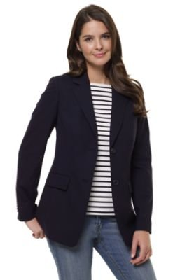 To complete the look of a pantsuit or to dress up an otherwise casual look, simply don a navy blazer! Blazers are available in a wide variety of cuts, styles, fabrics and sizes. For the ultimate business look, wear a long sleeve blazer with a coordinating skirt or slacks.