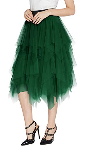 Urban CoCo Women's Sheer Tutu Skirt Tulle Mesh Layered Midi Skirt (XL, Dark Green)