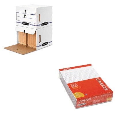 KITFEL00061UNV20630 - Value Kit - Bankers Box Side-Tab File Storage Box (FEL00061) and Universal Perforated Edge Writing Pad (UNV20630) by Bankers Box