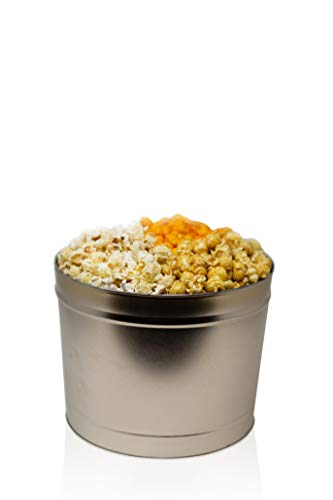 The Classics 2 Gallon Gourmet Popcorn Tin: Indulge in Cheese, Caramel, and Kettle Korn | Handcrafted to Order | Perfect for Movie Nights, Care Packages, and Gift Packages (2.0 Gallon Gold)