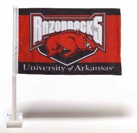 NCAA Arkansas Razorbacks Car Flag with Free Wall Bracket