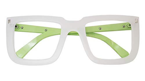Big Square Horn Rim Eyeglasses Nerd Spectacles Clear Lens Classic Geek Glasses (WHITE MINT 18302, Clear)