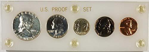 1955 No Mintmark U.S. Proof Set White Plexiglass Holder Half through Cent Proof