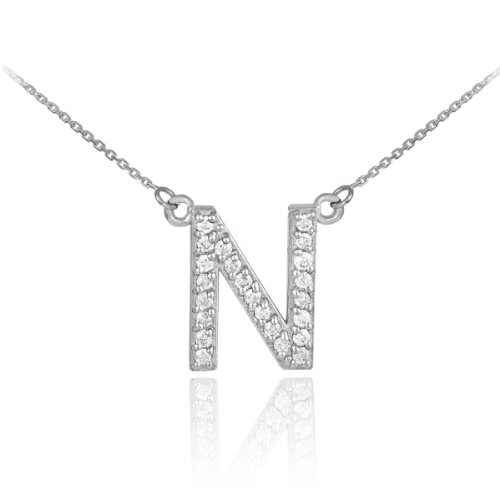 14k White Gold Diamond Letter N Initial Pendant Necklace, ()