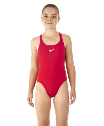Speedo Mädchen Badeanzug Essential Endurance Plus Medalist, Usa Red, 152, 8-007286446