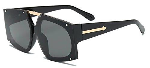 VOLCHIEN Oversized Black Aviator Square Sunglasses For Men Sports Flat Lens Glasses UV100% Protection Women Men Sunglasses Eyewear - Sunglasses Age Space
