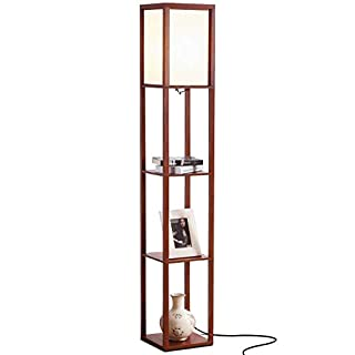 Brightech Maxwell - Modern LED Shelf Floor Lamp - Skinny End Table & Nightstand for Bedroom - Combo Narrow Side Table with Standing Accent Light Attached - Asian Tower Book Shelves - Walnut Brown