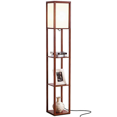 Brightech Maxwell - LED Shelf Floor Lamp - Modern Standing Light for Living Rooms & Bedrooms - Asian Wooden Frame with Open Box Display Shelves - Walnut - Pole Ceiling Lamp Floor