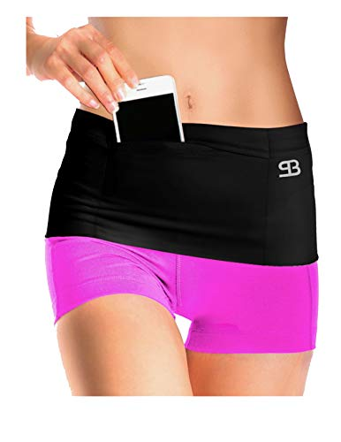 Stashbandz Unisex Money Travel Belt, Running Belt, Fanny and Waist Pack, 4 Large Security Pockets and Extra Secure Zipper Pocket, Fits Phones Passport and More, Extra Wide Spandex