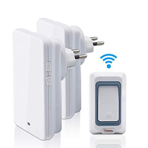 TongZhiReng Waterproof Wireless Doorbell Led Light Doorbells EU US AU UK Plug White Color with 1 Button+2 Receiver Door Bell EU