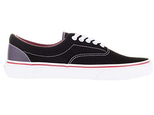 Vans Unisex Era Skate Shoes, Classic Low-Top Lace-up Style in Durable Double-Stitched Canvas and Original Waffle Outsole Black / Rhubarb