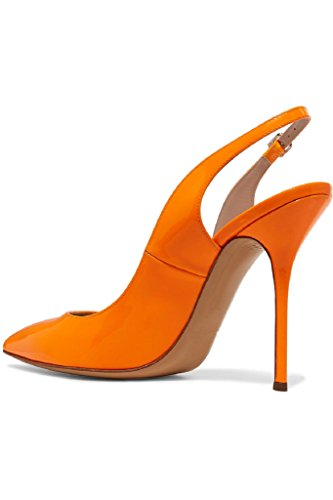 Kolnoo Womens Handmade Patent Leather Shoes Slingback Pointy High Heel Fashion Party Prom Pumps Orange PpHNrR
